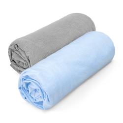 Kummiga voodilinad, 2 tk, sinine/hall