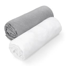 Kummiga voodilinad, 2 tk, valge/hall
