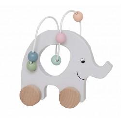 Ratastel puidust elevant