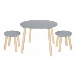 Laste laud ja 2 tooli, hall
