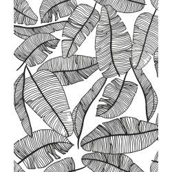 """Tapeet """"Jungle leaves"""" must / valge"""