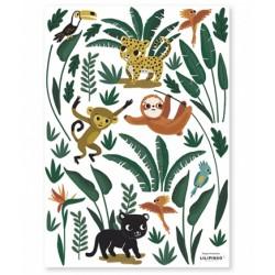 Seinakleebis Jungle, loomad ja lehed