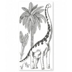 XL Seinakleebis Brontosaurus, must/valge