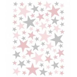 Seinakleebised Stars, 74 tk, roosa/hall