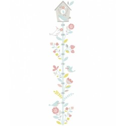 Seinakleebis laste mõõdupuu, lilled ja linnud