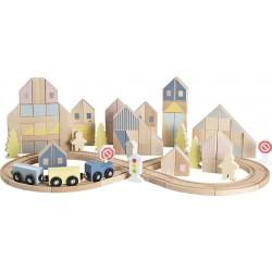 105 osaline puidust komplekt, linn ja rongitee