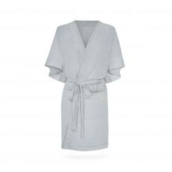 Hommikumantel / kimono, linane, helehall