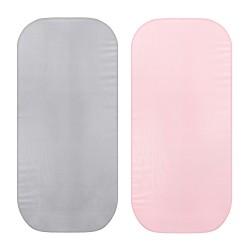 Puuvill vankrilinad 2tk, hall/roosa