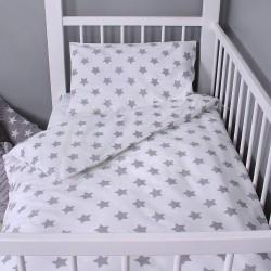 Beebi voodipesukomplekt, valge, hallid tähekesed