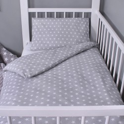 Beebi voodipesukomplekt, hall, valged tähekesed