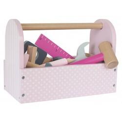 Puidust tööriistakast, roosa